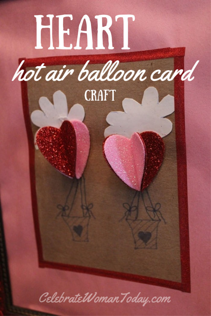 Valentines Day heart hot air balloon easy card craft tutorial