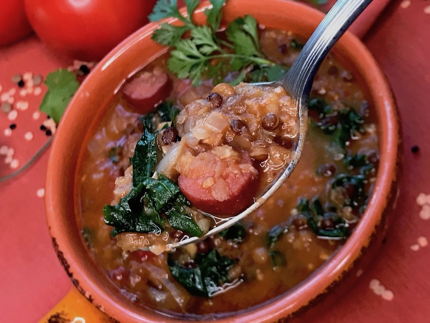 Instant Pot Lentil Soup with Sausage & Kale