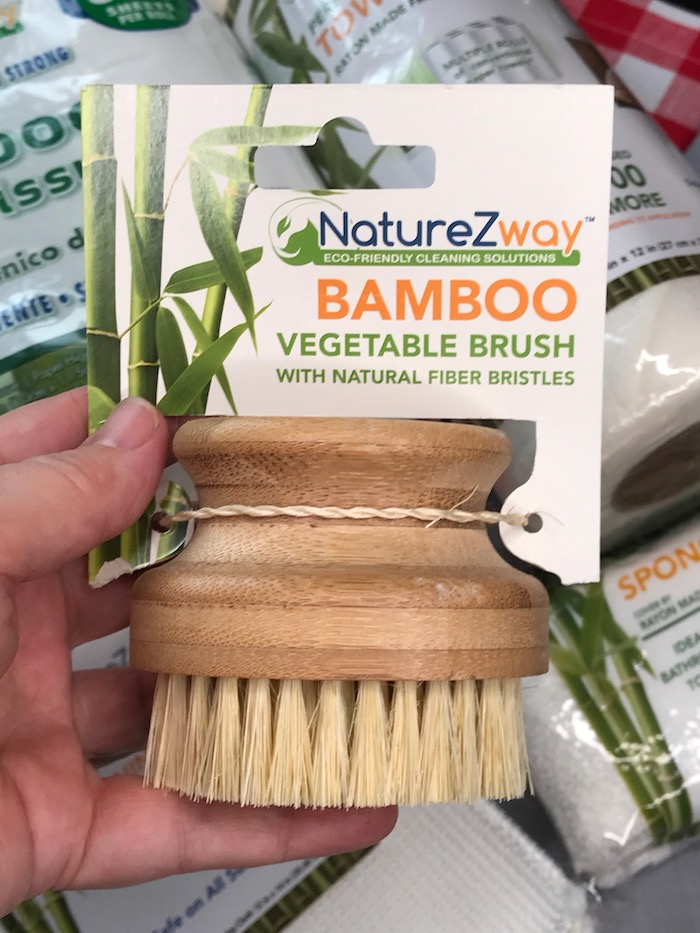 clean vegetables with natural bamboo brush