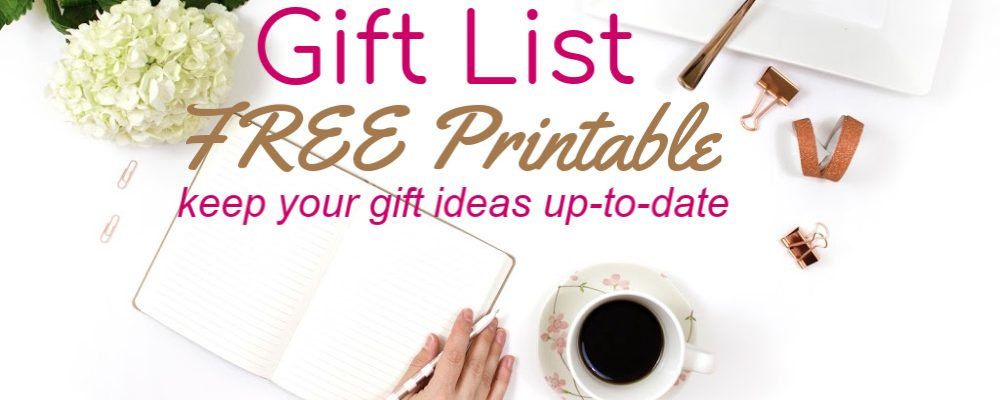 FREE Printable for A Gift List of Gift Ideas for Every Occasion