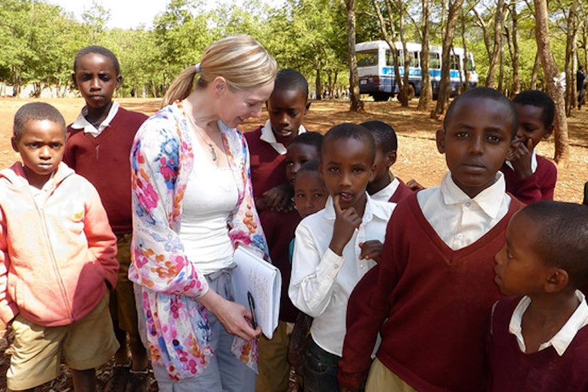 Author Suzanne Skees with Students in Tanzania