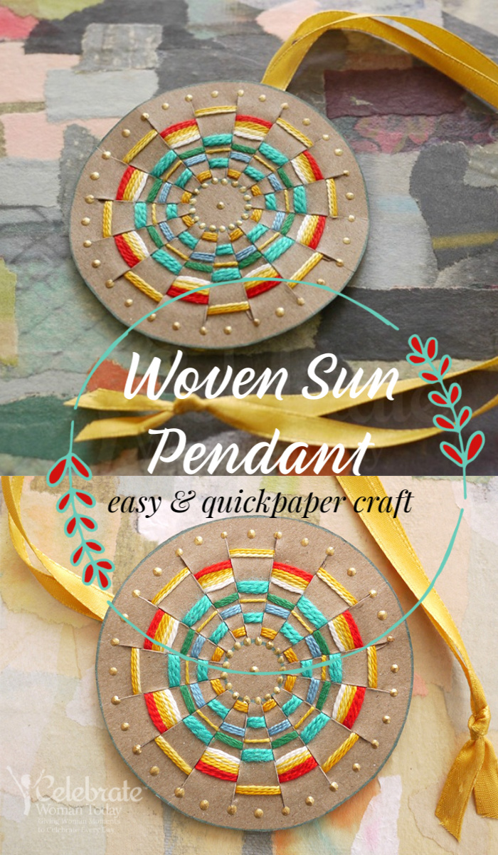 Woven sun pendant paper craft is quick and easy
