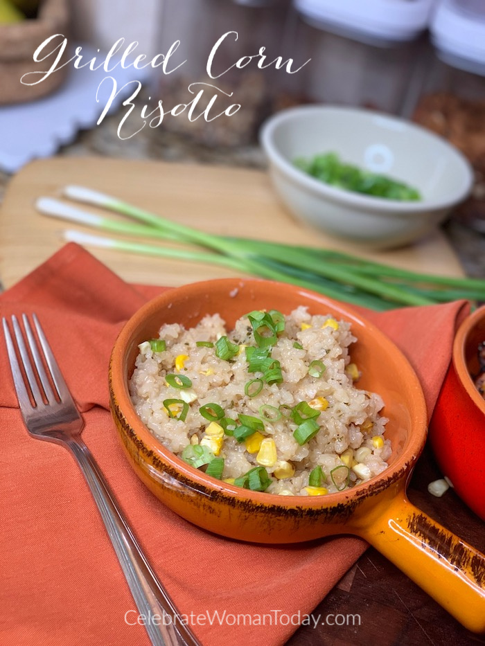 Grilled Corn Risotto is creamy and mixed with corn kernrels