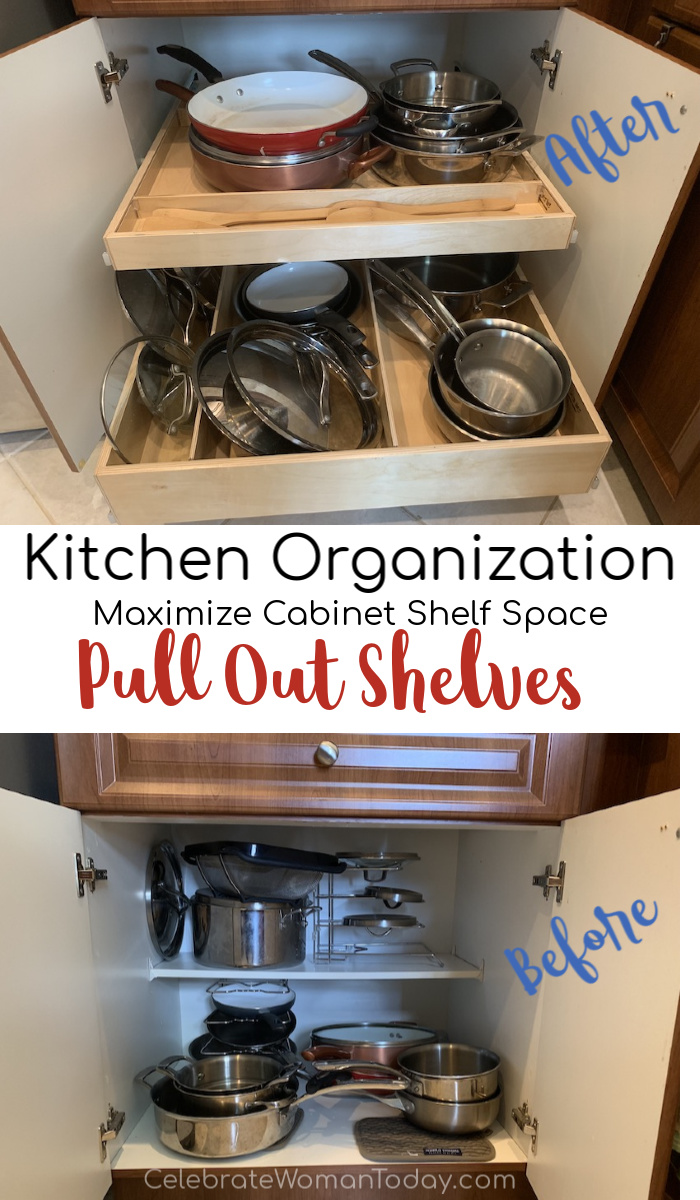 Maximizing cabinet shelf space with pull out shelves like ShelfGenie
