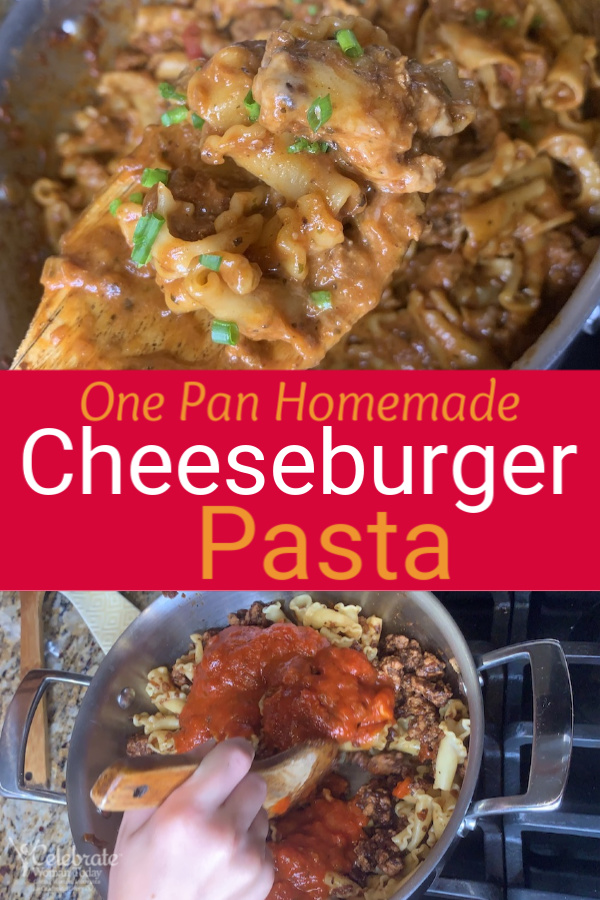 Homemade easy cheeseburger pasta recipe