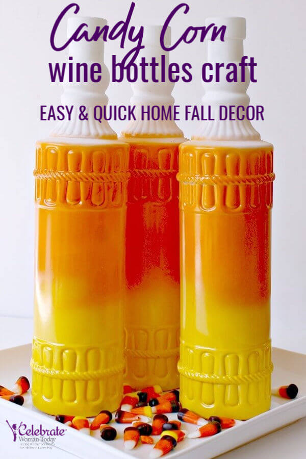 Fall Home Decor with Candy Corn Ombre Wine Bottles Crafts