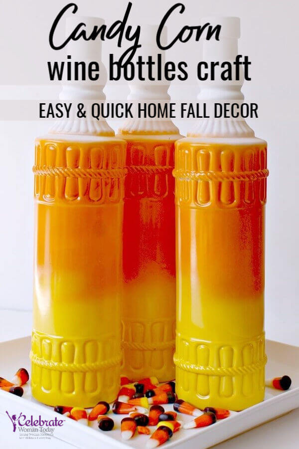 candy corn crafts wine bottles for the Fall home decor