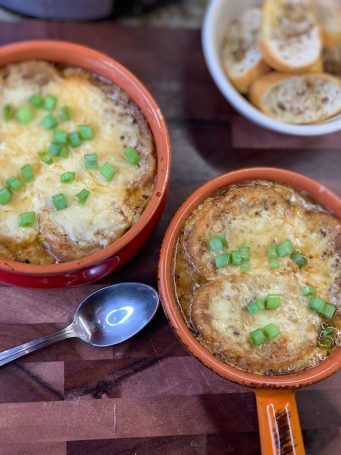 Homemade French Onion Soup with toasted bread and Gruyère cheese