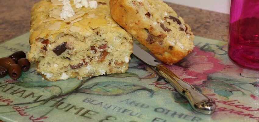 Goat Cheese Bacon and Olive Quick Bread for Savory Meals and Holidays