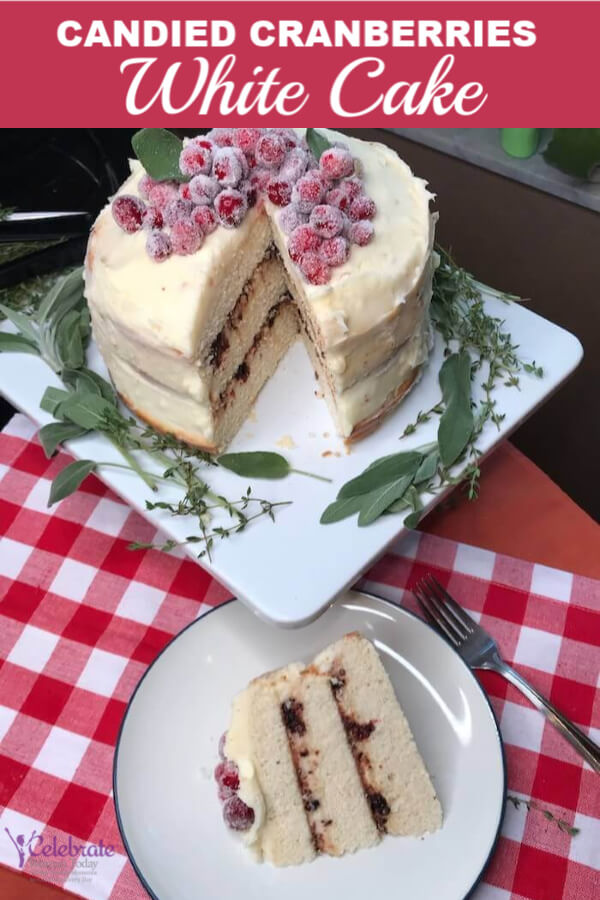 candied cranberries white cake