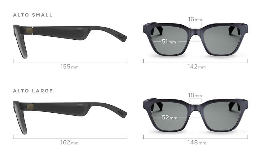 Bose audio sunglassess sizes