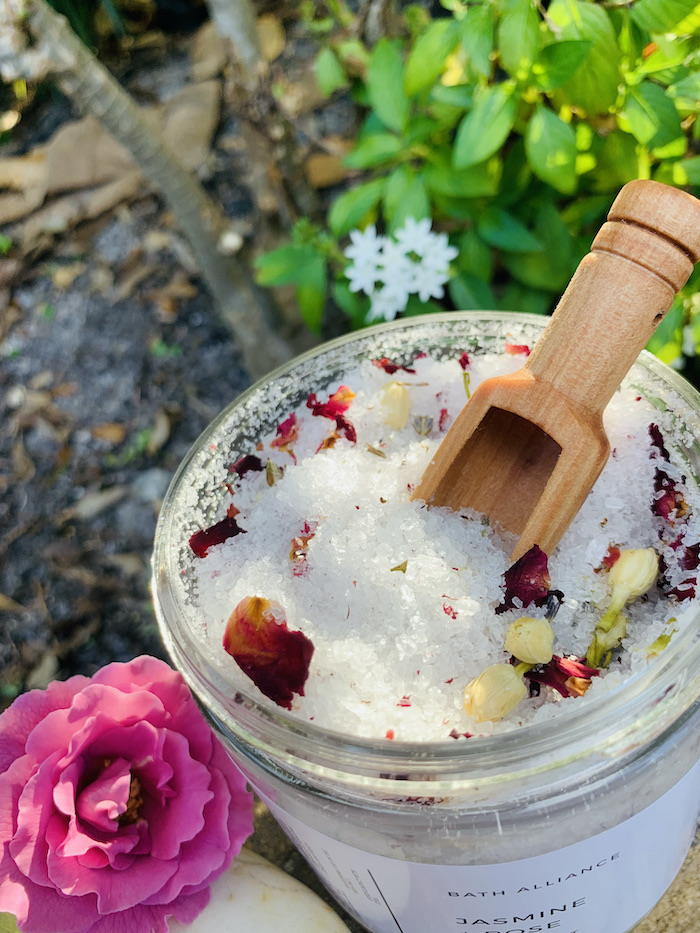jasmine rose bath salt jar